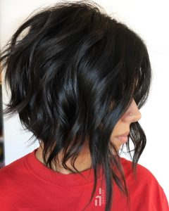 Edgy Brunette Bob Hairstyles with Glossy Waves