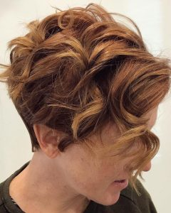 Tapered Brown Pixie Hairstyles With Ginger Curls