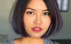 Purple-tinted Off-centered Bob Hairstyles