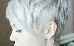 Choppy Blonde Pixie Hairstyles with Long Side Bangs