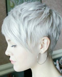 Cropped Gray Pixie Hairstyles With Swoopy Bangs