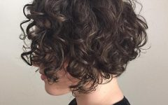 Scrunched Curly Brunette Bob Hairstyles