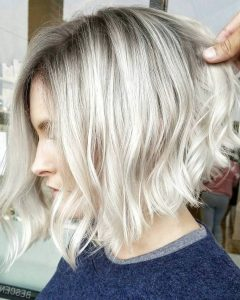 Curly Angled Blonde Bob Hairstyles