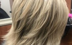 Thick Feathered Blonde Lob Hairstyles