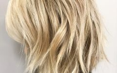 Blonde Lob Hairstyles with Disconnected Jagged Layers