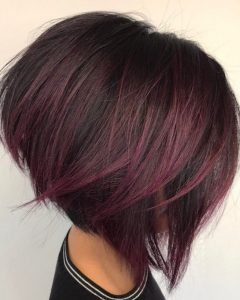 Angled Burgundy Bob Hairstyles With Voluminous Layers