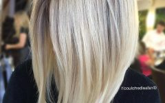 Steeply Angled A-line Lob Blonde Hairstyles