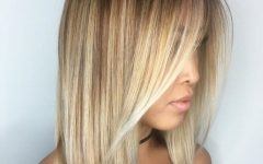 Caramel Blonde Lob with Bangs