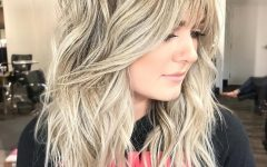 Mid-length Light Blonde Shag Haircuts with Bangs