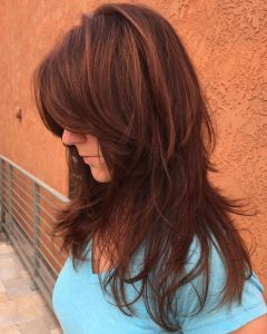 Long Chestnut Brown Shag Hairstyles