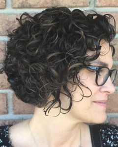 Black Wet Curly Bob Hairstyles With Subtle Highlights
