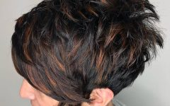 Dark Pixie Hairstyles with Cinnamon Streaks