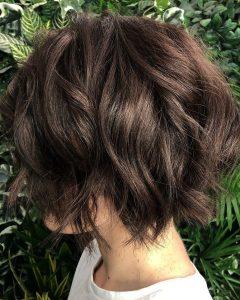 Chin-Length Chocolate Bob Shag Haircuts