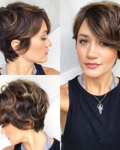 Long Curly Pixie Haircuts With Subtle Highlights
