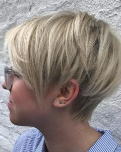 Long Pixie Haircuts with Angled Layers