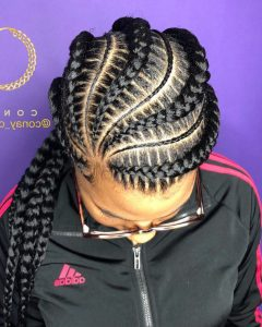 Thick Plaits And Narrow Cornrows Hairstyles