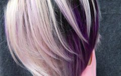 Medium Angled Purple Bob Hairstyles