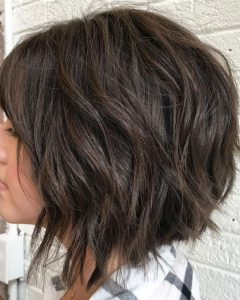 Razored Brown Bob Hairstyles