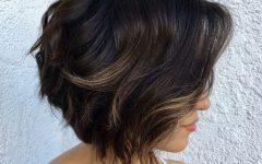 Disheveled Brunette Choppy Bob Hairstyles