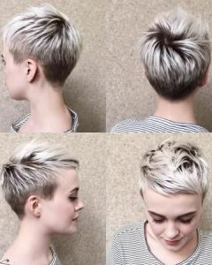 Blonde Pixie Haircuts With Short Angled Layers