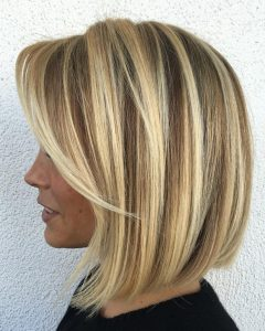One-length Balayage Bob Hairstyles with Bangs