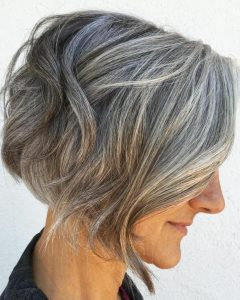 Layered Tousled Salt And Pepper Bob Hairstyles