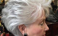 Voluminous Gray Pixie Haircuts