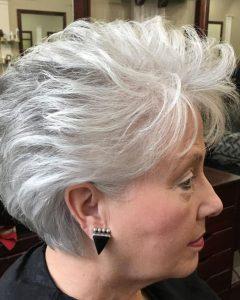 Voluminous Gray Pixie Haircuts