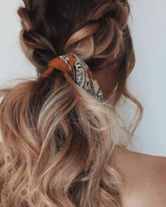 Loosely Tied Braid Hairstyles With A Ribbon