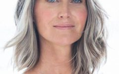 Medium Haircuts for Grey Haired Woman