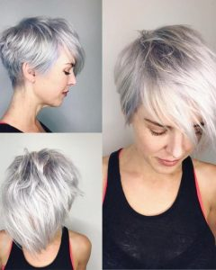 Asymmetrical Silver Pixie Hairstyles