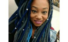Navy Bob Yarn Braid Hairstyles