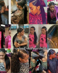 Straight Side Ponytail Hairstyles with Center Part