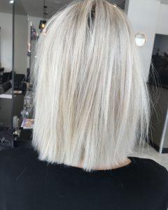 Blunt Cut White Gold Lob Blonde Hairstyles