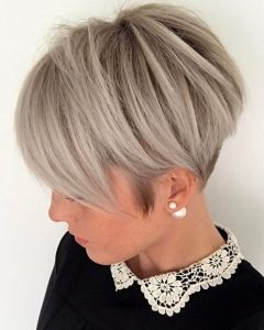 Ash Blonde Pixie With Nape Undercut