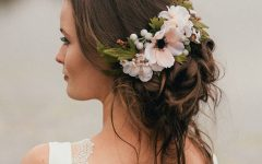 Sleek Bridal Hairstyles with Floral Barrette