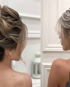 Low Messy Chignon Bridal Hairstyles For Short Hair
