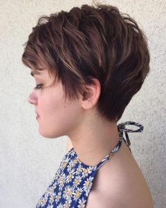 Brunette Pixie Hairstyles With Feathered Layers