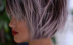 Choppy Brown and Lavender Bob Hairstyles