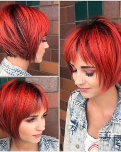 Black Choppy Pixie Hairstyles with Red Bangs