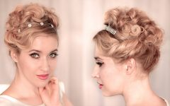 Curly Bun Bridal Updos for Shorter Hair