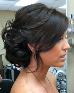 Side Bun Prom Hairstyles with Black Feathers