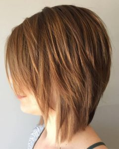 Side-Parted Layered Bob Haircuts