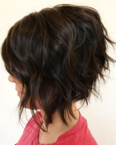Disconnected Shaggy Brunette Bob Hairstyles