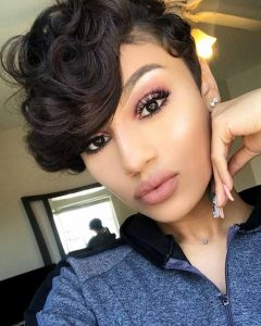 Curly Pixie Hairstyles with Segmented Undercut