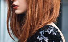 Ginger Highlights Ponytail Hairstyles with Side Bangs