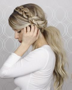 Large And Loose Braid Hairstyles With A High Pony