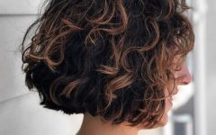 Medium Length Curls Hairstyles with Caramel Highlights