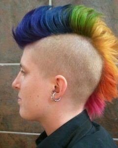 Coral Mohawk Hairstyles with Undercut Design