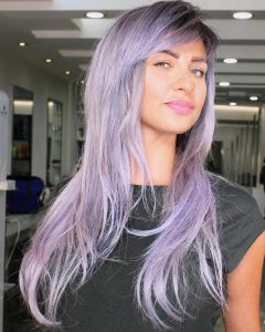 Long Pastel Purple Layers Shag Haircuts